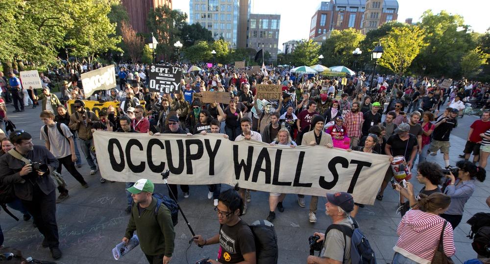 تظاهرات مردم در وال استریت امریکا